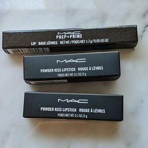 MAC POWDER KISS LIPSTICK, PREP&PRIME LIP BASE